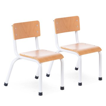 CHILDHOME - SMALL METAL WOOD CHAIR NATURAL WHITE 2PCS