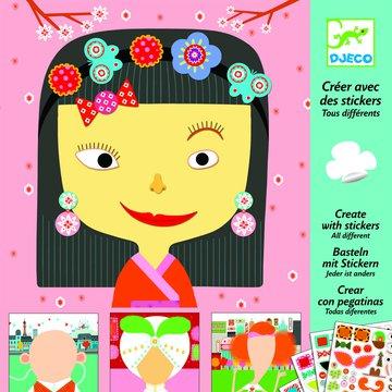Djeco - Zestaw art. z naklejk. dla maluchw TWARZE DJ08934