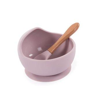 Bo Jungle - B-Silikonowa miska z przyssawką i łyżeczką pink