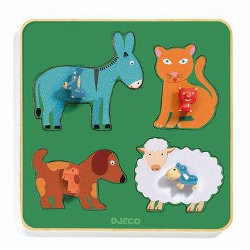 Djeco - Drewniane puzzle RODZINA Z  FARMY DJ01061