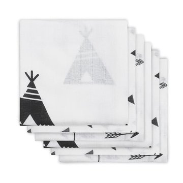 Jollein - Baby & Kids - Jollein - 6 pieluszek niemowlęcych Hydrophlic 70 x 70 cm Indians Black and White