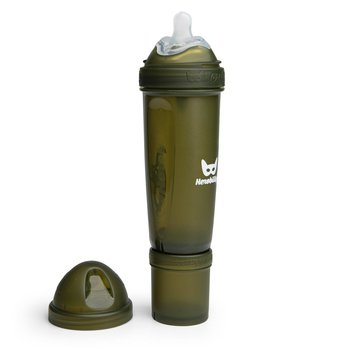 Herobility - butelka antykolkowa Herobottle 340 ml, ciemnozielony + smoczek L (4 m+)