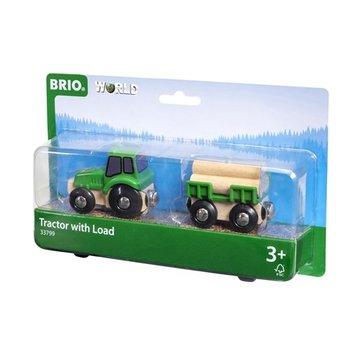 BRIO World Traktor z Przyczepą i Drewnem