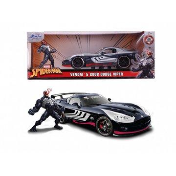 Dickie - Pojazd i Figurka Marvel Venom 2008 Dodge Viper 1:24