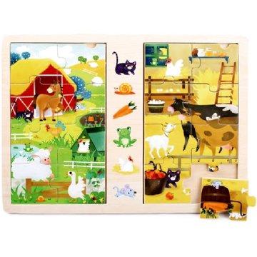 Brimarex - Gra i puzzle drewniane TOP BRIGHT - Na wsi, 2 x 8 elementów