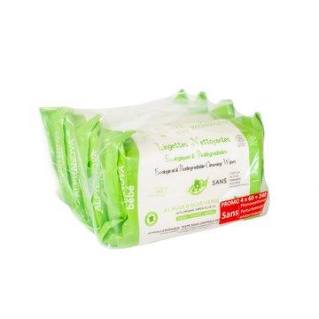 Alphanova Bebe, Ekologiczne chusteczki biodegradowalne z oliwą, 4x60 szt. ALPHANOVA BEBE