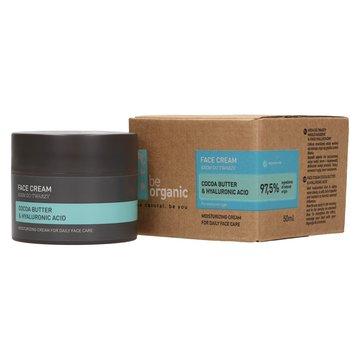 Be Organic, Krem do twarzy z kwasem hialuronowym i masłem kakaowym, 50 ml