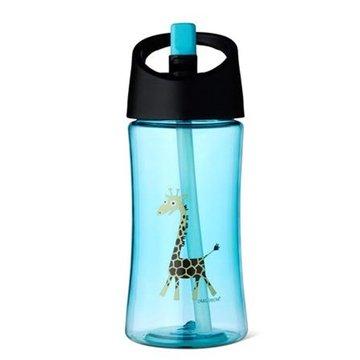 Carl Oscar Transparentny bidon ze słomką 350 ml Turquoise - Giraffe CARL OSCAR