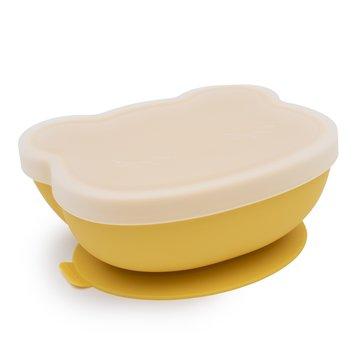 Silikonowa miseczka z przyssawką i pokrywką Miś We Might Be Tiny - Yellow
