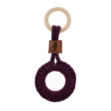 Hi Little One - gryzak sznurkowy 2w1 2 Rings Teether wood and cotton Dark Wine