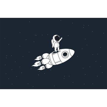 MARKO - Dywan dla dzieci ultra miękki 100x150 Rakieta i kosmonauta