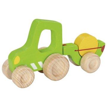 Goki - Zielony traktor z przyczepką