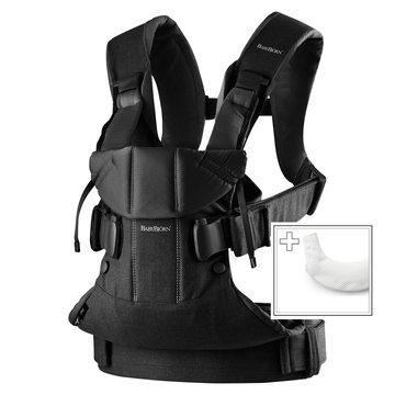 BABYBJORN ONE - nosidełko, Czarny + śliniaczek do nosidełka ergonomicznego One