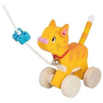 Goki® - Drewniana zabawka do ciągnięcia kot