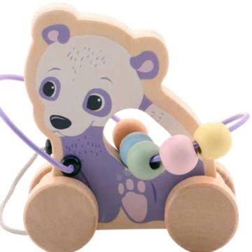 Joueco - Drewniana zabawka na kółkach z przeplatanką PANDA