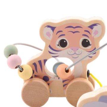 Joueco - Drewniana zabawka na kółkach z przeplatanką TYGRYS