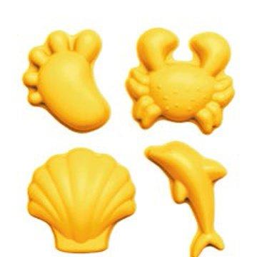 Funkit world - Silikonowe Foremki do piasku 4 szt. Scrunch - Pastelowy Żółty