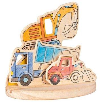 Goki® - Drewniana kolorowanka z podstawką - Pojazdy, Goki