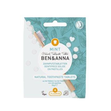 BEN and ANNA, Naturalne tabletki do mycia zębów z fluorem, 36 g Ben and Anna