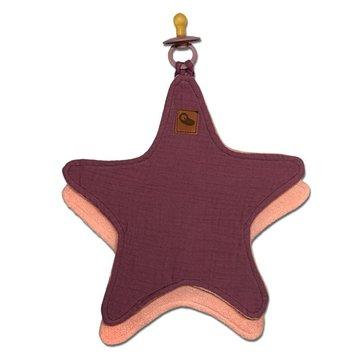 Hi Little One - Przytulanka muślinowa dou dou z zawieszką na smoczek cozy muslin pacifier clip Star Lavender