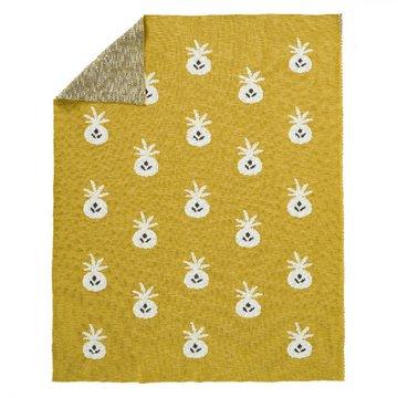 Fresk Tkany kocyk z bawełny organicznej 80 x 100 cm Ananas Mustard FRESK