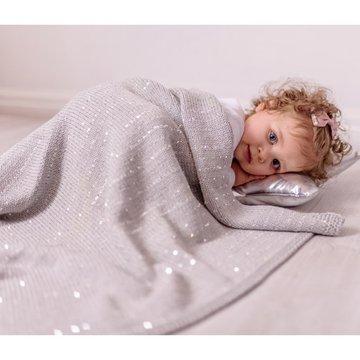 Bizzi Growin Silver Sparkling Blanket kocyk tkany Srebrne Iskierki