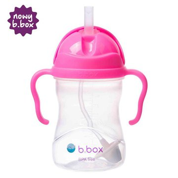 Bidon ze słomką 240 ml, różowy granat, b.box
