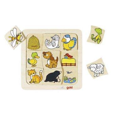 Goki® - Drewniane puzzle Gdzie mieszkają zwierzątka? GOKI-56881