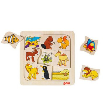 Goki® - Drewniane puzzle Gdzie mieszkają zwierzątka? GOKI-56725