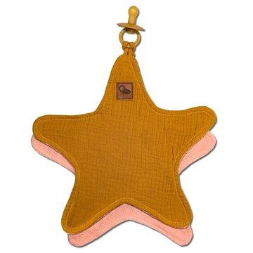Hi Little One - Przytulanka muślinowa dou dou z zawieszką na smoczek cozy muslin pacifier clip Star Mustard