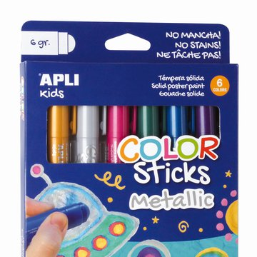 Farby w kredce metaliczne Apli Kids - 6 kolorów