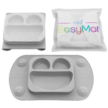 EasyTots - EasyMat Mini 2in1 GREY silikonowy talerzyk z podkładką - lunchbox EASYTOTS
