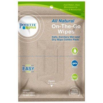 Biodegradowalne mokre/suche chusteczki On-The-Go, Potette Plus