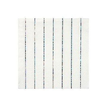 Meri Meri - Małe serwetki Paski holograficzne srebrne