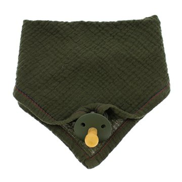 Hi Little One - Śliniak muślinowy bandana z zawieszką na smoczek muslin bandana bibs with pacifire holder Green Hunter