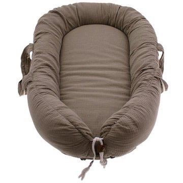 Hi Little One - Kokon gniazdko dla Noworodka z oddychającego muślinu NEWBORN NEST DARK OAK LIGHT