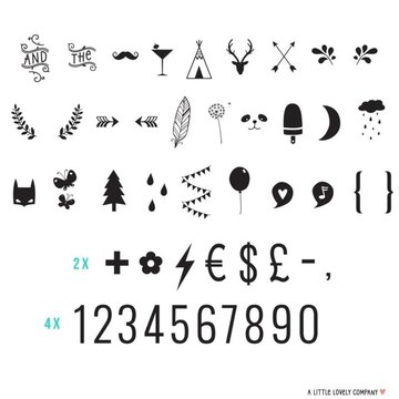 A Little Lovely Company - Litery do Lightboxa zestaw Numbers & symbols