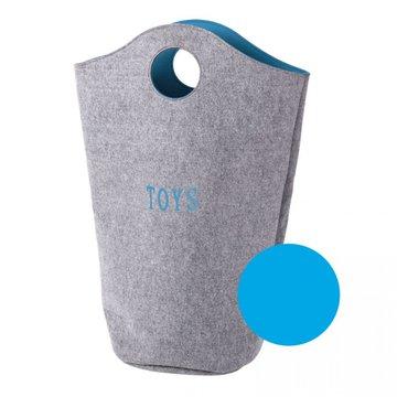 CHILDHOME - Filcowa torba na zabawki szary i turkus 31x32x72