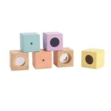 Plan Toys - Interaktywne Pastelowe Klocki, PLTO-5257