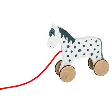 Goki® - Drewniany, czarno biały konik do ciągnięcia,, Goki 54963