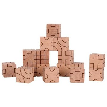 Goki® - Klocki sześcienne geometryczne naturalne Goki