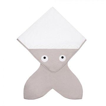 Baby Bites Ręcznik z kapturkiem Rekinek 75 x 75 cm szary BABY BITES