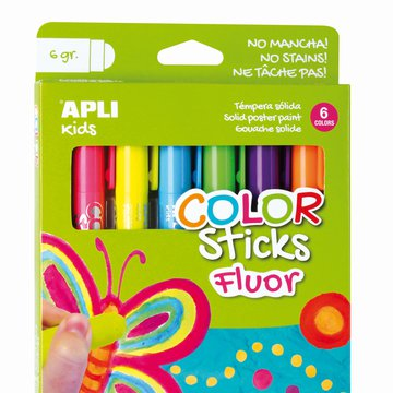 Farby w kredce neonowe Apli Kids - 6 kolorów