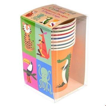 Kubki papierowe 8 szt., Kolorowe Zwierzaki, Rex London