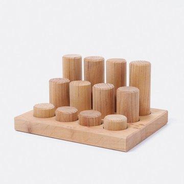 Klocki drewniane, małe walce, kolekcja naturalna, Grimm's