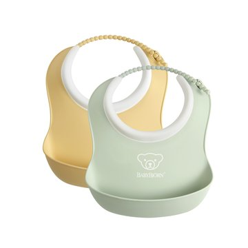 BABYBJORN - 2 małe śliniaczki Powder Yellow/ Powder Green