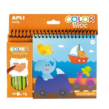 Kolorowanka z kredkami Apli Kids - Transport