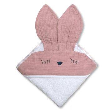 Hi Little One - Ręcznik z kapturem 100 x 100 SLEEPY BUNNY hooded bath towel Blush