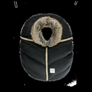 7AM - Śpiworek do fotelika samochodowego Cocoon Black Faux Fur