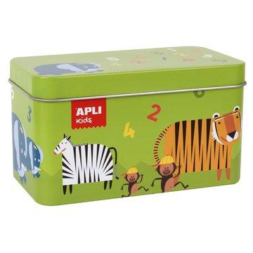 Domino w metalowym pudełku Apli Kids - Zwierzęta i liczby